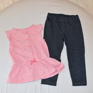 Girls sleeveless shirt with jean leggings